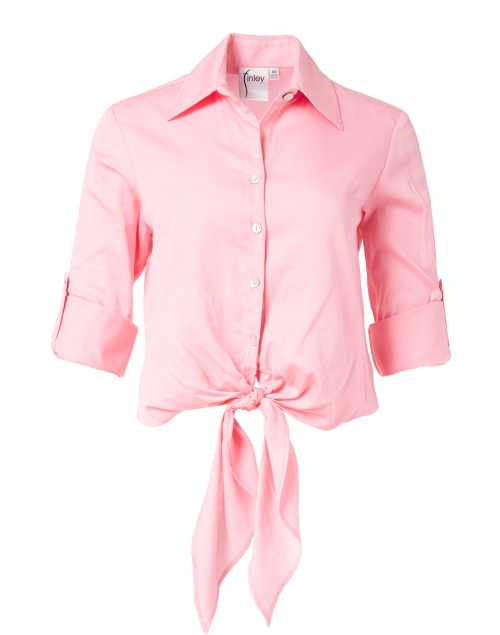 Finley Lindy Pink Tie Front Cotton Shirt