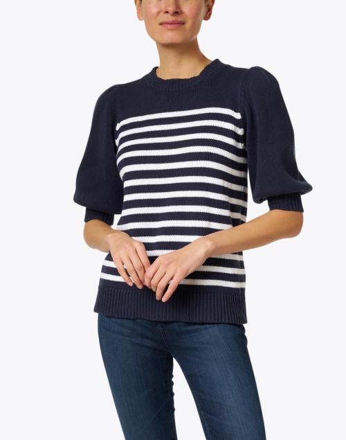 Sail to Sable - Navy and White Stripe Cotton Sweater
