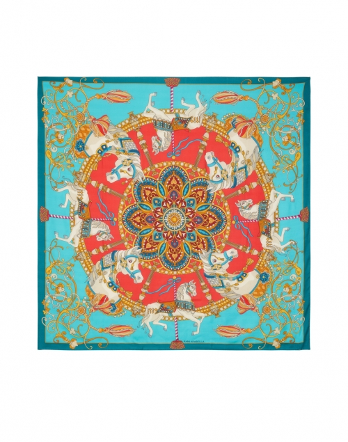 Rani Arabella - Teal Toy Horse Printed Cashmere and Silk Scarf