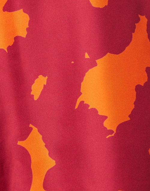 Rosso35 - Red and Orange Abstract Print Silk Twill Dress