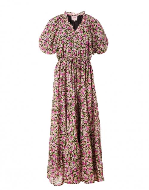 Banjanan Poppy Pink and Black Floral Cotton Voile Dress