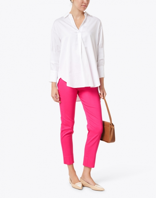Marc Cain - White Cotton Blouse with Sleeve Detailing