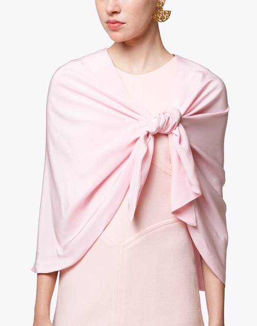 Amato - Pale Pink Silk Crescent Wrap