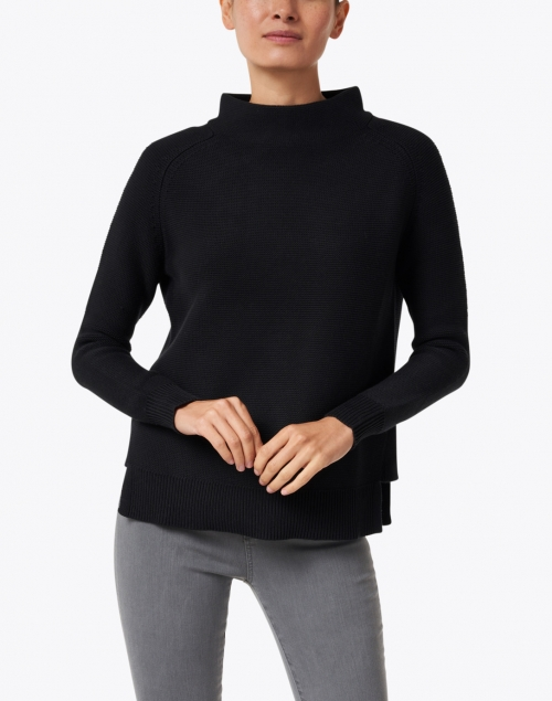 Kinross - Black Garter Stitch Cotton Sweater