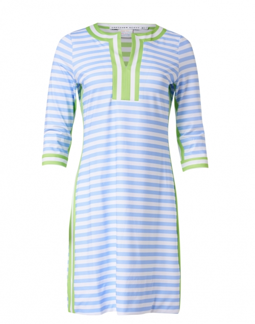 Gretchen Scott - Periwinkle, White and Green Striped Jersey Dress