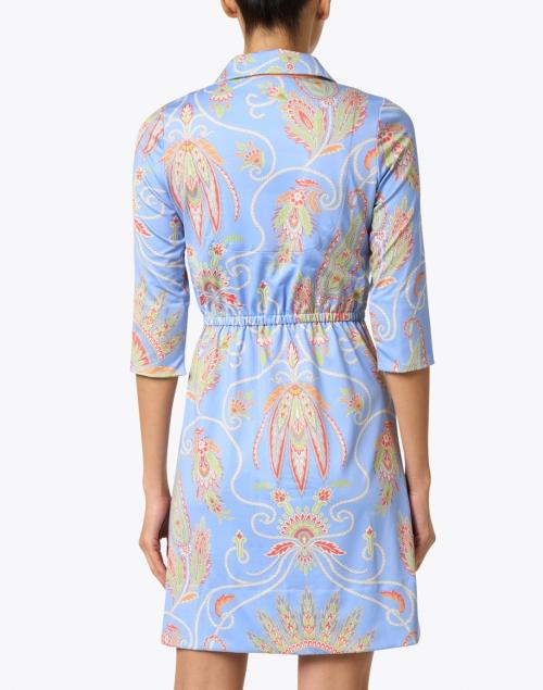 Gretchen Scott - Periwinkle Plume Printed Twist Front Dress