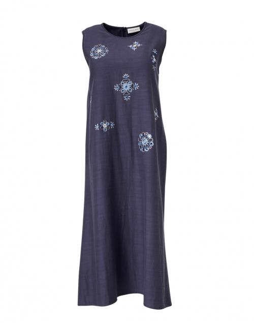 Megan Park - Anya Navy Embroidered Midi Shift Dress