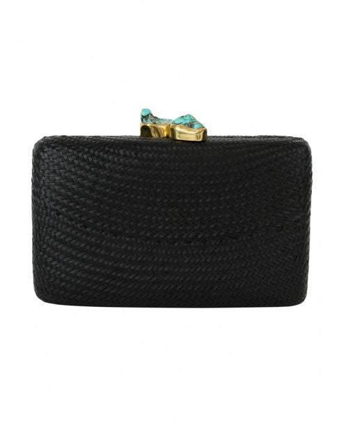 Kayu - Jen Black Straw Clutch with Turquoise Closure