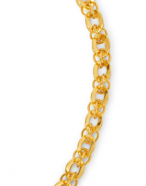 Kenneth Jay Lane - Gold Circular Rounded Chain Link Necklace