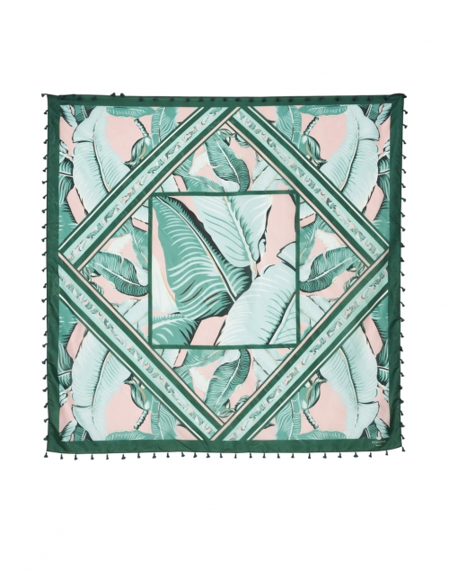 Weekend Max Mara - Giostra Green and Pink Palm Print Silk Scarf