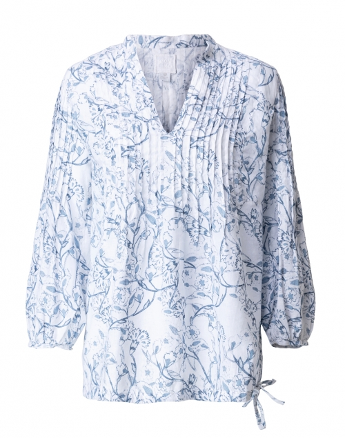 120% Lino Blue and White Floral Print Linen Shirt