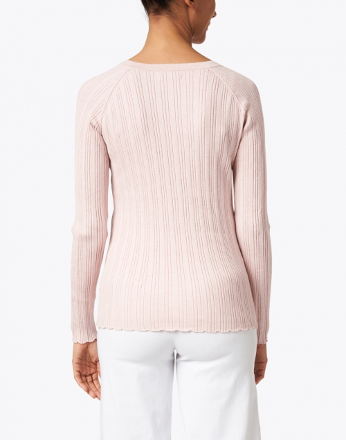 Kinross - Light Pink Cotton Cashmere Ribbed Top