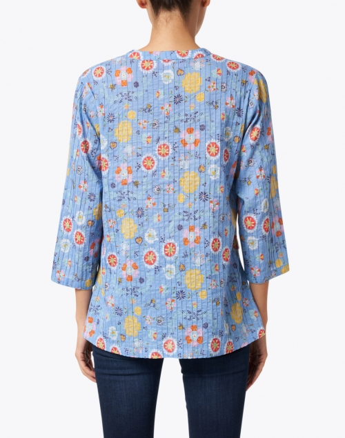 Ro's Garden - Ciara Blue Gardenia Print Cotton Top