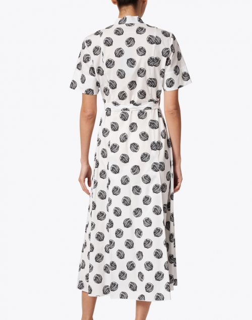 Piazza Sempione - Black and White Large Dot Printed Stretch Cotton Dress