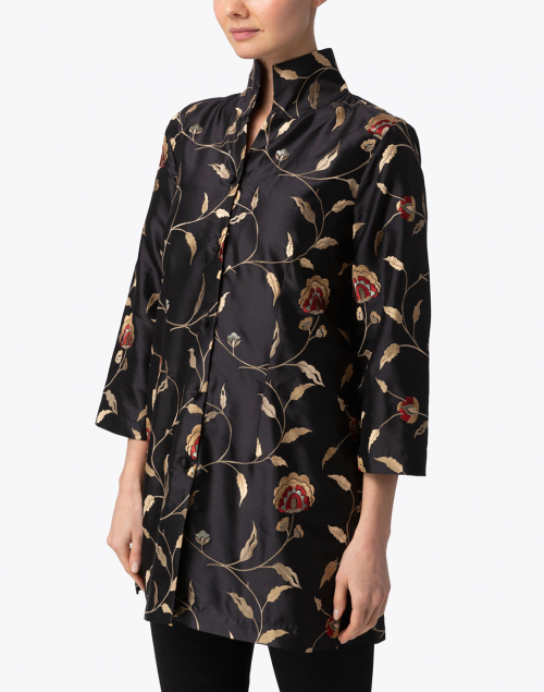 Connie Roberson - Rita Black Floral Embroidered Silk Jacket
