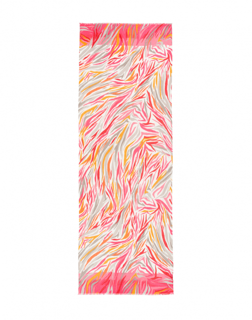 Kinross - Pink and Orange Ikat Silk and Cashmere Scarf