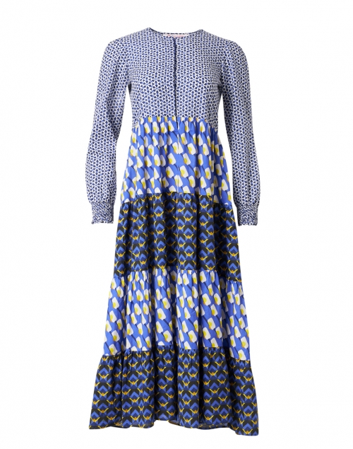 Ro's Garden - Daphne Blue and Navy Printed Shirt Dress