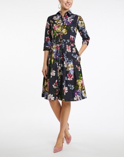 Samantha Sung - Audrey Navy Rembrandt Pastel Floral Stretch Cotton Dress