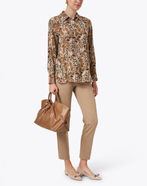 Max Mara Studio - Dollaro Camel Floral Silk Shirt