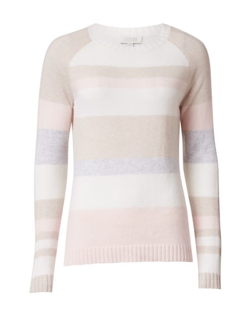 Kinross - Pink, White, Beige and Blue Striped Cashmere Sweater