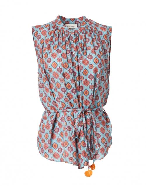 Megan Park - Azra Turquoise Tile Print Cotton Top