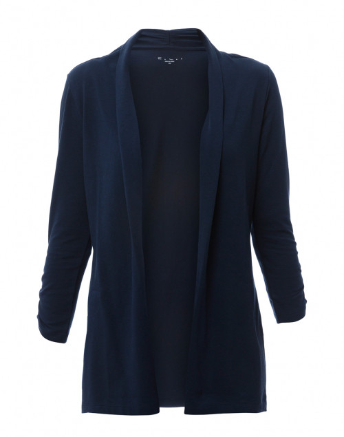 E.L.I. - Navy Ruched Sleeve Cotton Cardigan
