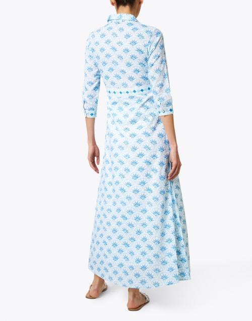 Oliphant - Blue Capella Print Cotton Voile Shirt Dress