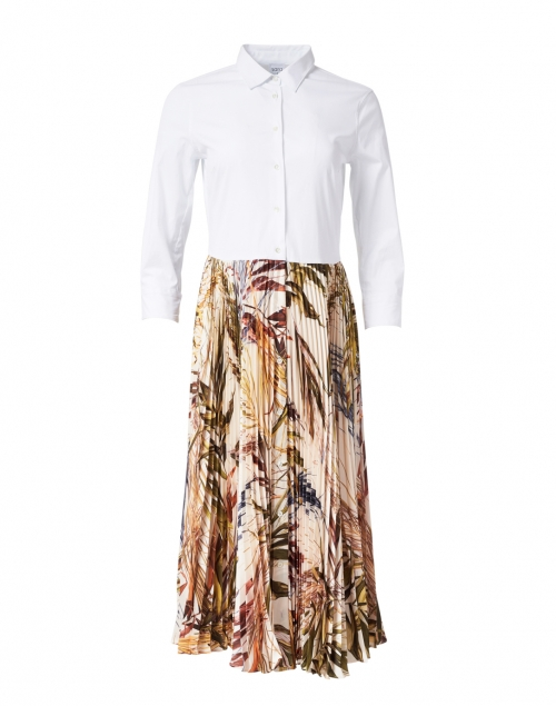 Sara Roka - Tosca White and Champagne Bamboo Printed Shirt Dress