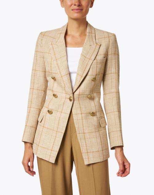 Smythe -  Camel Plaid Cotton Linen Blazer