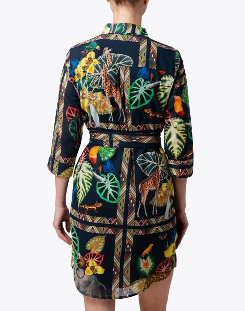 Vilagallo - Amanda Navy Safari Printed Cotton Shirt Dress