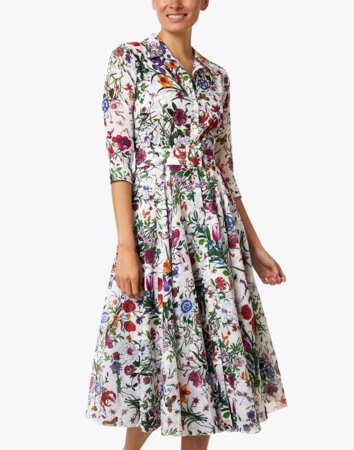 Samantha Sung - Aster Multi Botanical Print Cotton Musola Shirt Dress
