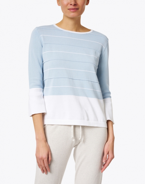 Kinross - Sea Blue and White Striped Cotton Sweater
