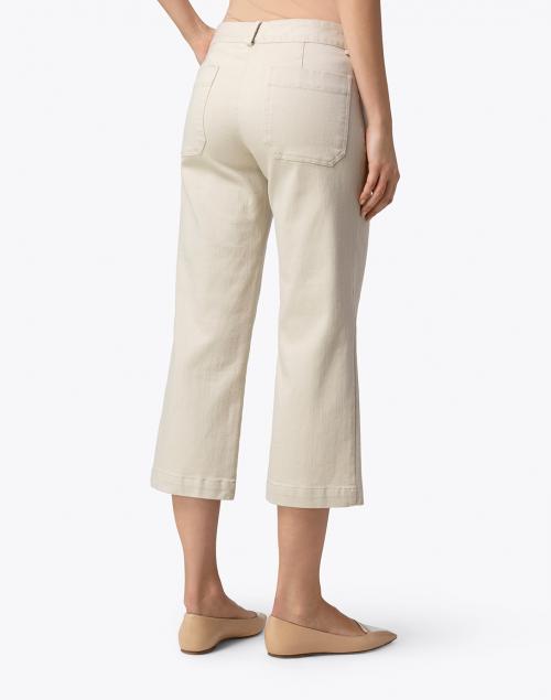 Elliott Lauren - Beige Stretch Denim Cropped Wide Leg Jean