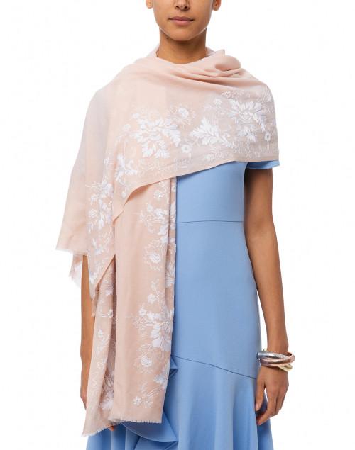 Janavi - Nude Floral Embroidered Merino Wool Scarf