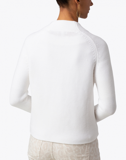 Kinross - White Garter Stitch Cotton Cardigan