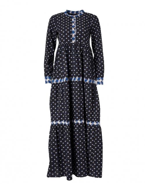 Warm - Pheasant Navy, Blue and White Square Print Cotton Dress