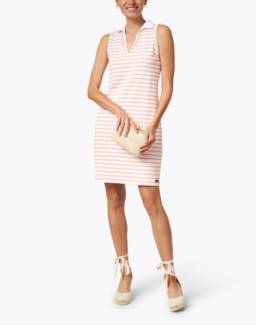 Saint James - Nimes White and Coral Jersey Polo Dress