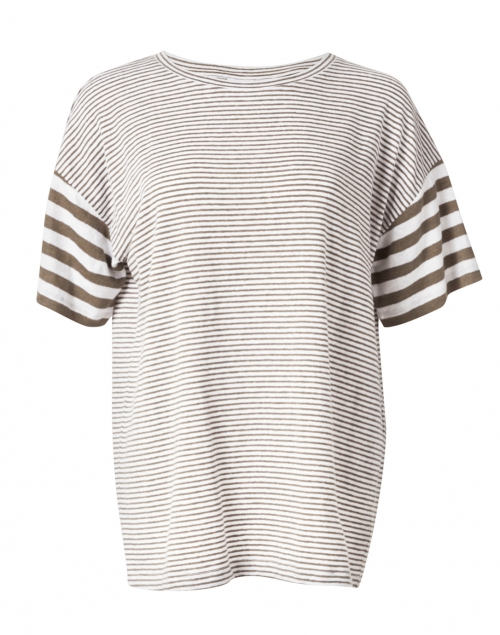 Max Mara Leisure Garbo Green and White Striped Stretch Linen Top