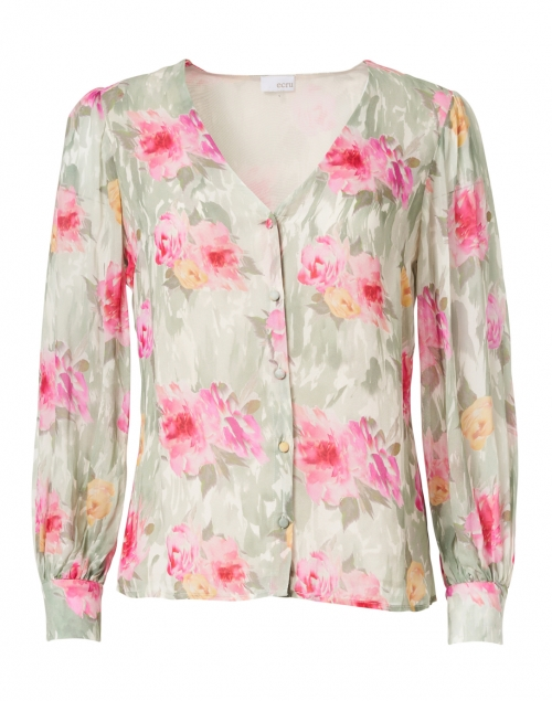 Ecru Green and Pink Watercolor Floral Chiffon Blouse