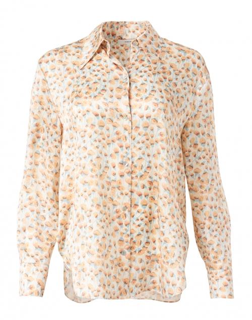 Vince - Chiffon Orange Carnation Print Silk Satin Blouse