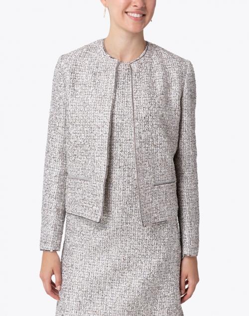 Les Copains - Cream and Black Silver Lurex Boucle Jacket