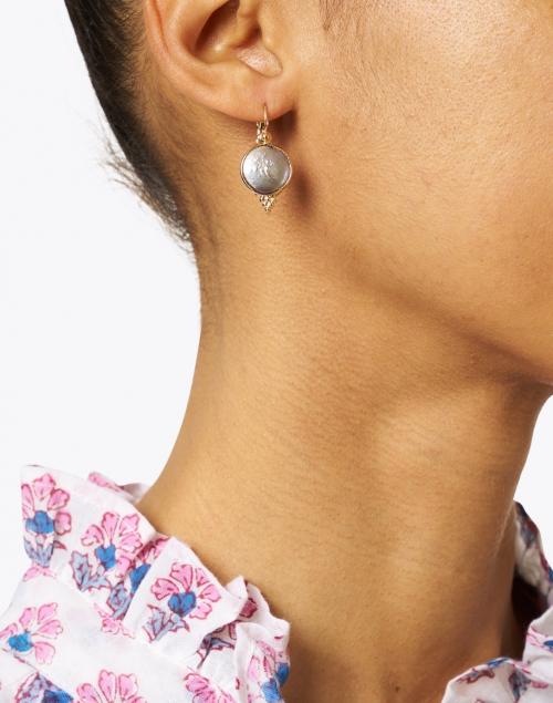 Gas Bijoux - Grey Mother of Pearl Gold Drop Earring