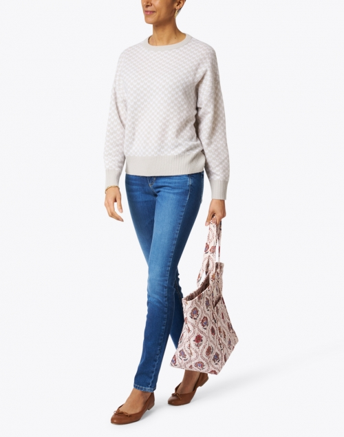 Allude - Ivory and Grey Wool Cashmere Sweater