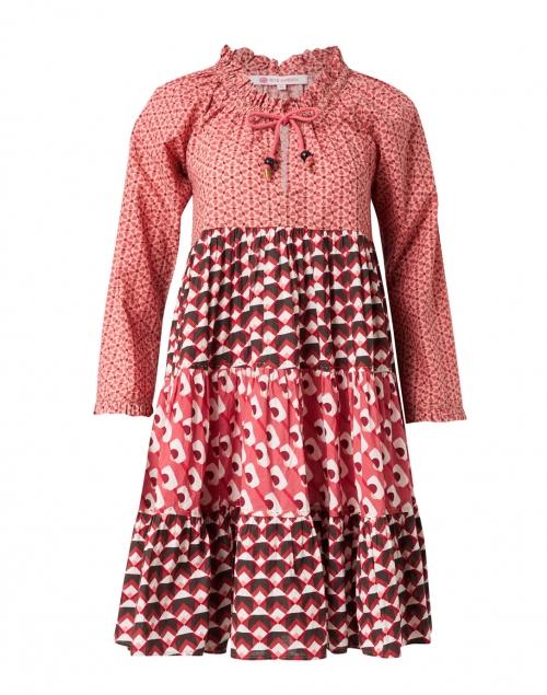 Ro's Garden - Sonia Red Geometric Printed Cotton Dress