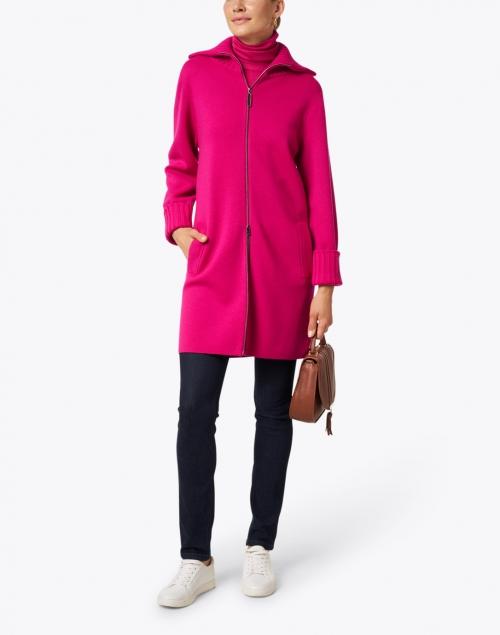 Marc Cain Sports - Magenta Wool Zip Up Cardigan Jacket