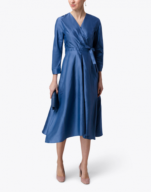 Weekend Max Mara Ricamo Light Blue Silk Midi Wrap Dress