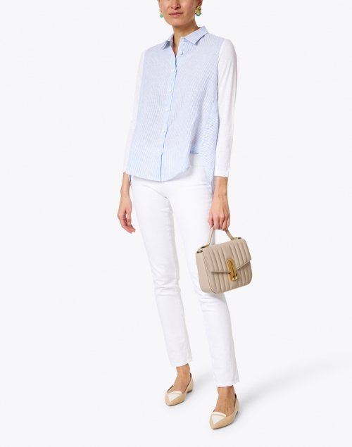 WHY CI - Blue and White Striped Linen Shirt