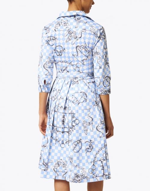 Samantha Sung - Audrey Sky Blue Saddle Print Stretch Cotton Dress