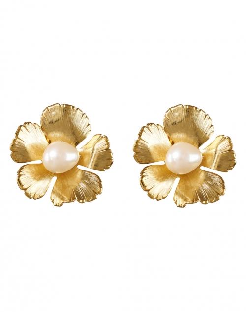 Oscar de la Renta - Gold and Pearl Small Flower Clip-On Earrings