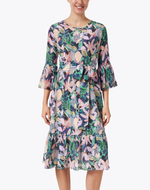 Soler - Pia Blue and Pink Floral Print Silk Crepe Dress